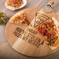 Personalised Pizza Board With Cutter - Pizza My Heart - Pizza Gifts