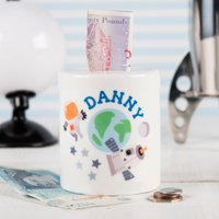 Personalised Ceramic Money Box - Space - Money Box Gifts