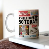 Personalised Mug - 50th Birthday News