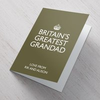 Personalised Card - Britain's Greatest Grandad - Grandad Gifts