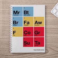 Personalised Notebook - Best Teacher Periodic Table - Teacher Gifts