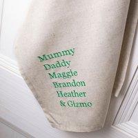 Personalised Natural Tea Towel - Family Names - Towel Gifts