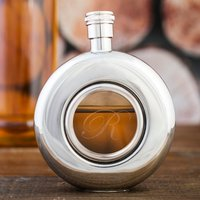 Personalised Circular Window Hip Flask - Flask Gifts