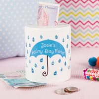 Personalised Ceramic Money Box - Rainy Day Fund - Money Box Gifts