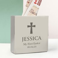 Personalised Silver Money Box - Cross - Money Box Gifts