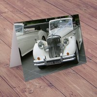 Personalised Card - Classic Car White - Classic Car Gifts