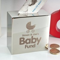 Personalised Silver Money Box - Baby Fund - Money Box Gifts