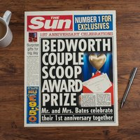 The Sun Personalised Spoof Newspaper Article - 1st Year Anniversary - Newspaper Gifts