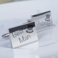 Engraved Rectangle Cufflinks - Wedding Best Man Top Hat - Best Man Gifts