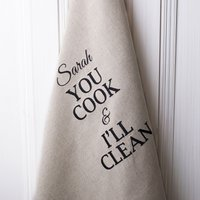 Personalised Natural 'You Cook And I'll Clean' Tea Towel - Cook Gifts