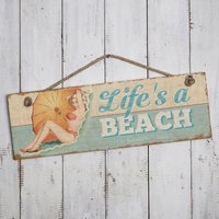 Personalised 'Life's a Beach' Wooden Hanging Sign - Beach Gifts