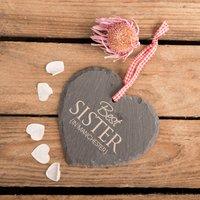 Personalised Heart Shaped Slate Hanging Keepsake - Best Sister In - Sister Gifts