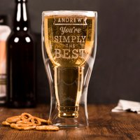 Personalised Bottoms Up Beer Glass - Simply The Best - Beer Glass Gifts