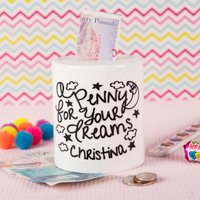 Personalised Ceramic Money Box - Penny For Your Dreams - Money Box Gifts
