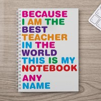 Personalised Notebook - World's Best Teacher - Teacher Gifts