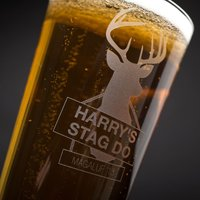 Personalised Pint Glass - Stag Do Location - Stag Night Gifts