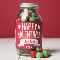 Personalised Jar Of Rosy Apple Sweets - Happy Valentine's Day