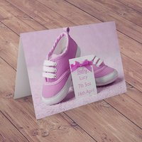 Personalised Card - Baby Girl Shoes - Baby Gifts