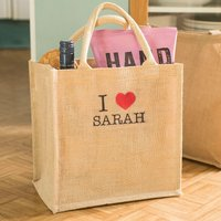 Personalised Canvas Shopping Bag - I Heart You - Shopping Gifts
