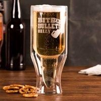 Personalised 50 Calibre Bullet Beer Glass - Bite The Bullet - Beer Glass Gifts