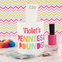 Personalised Ceramic Money Box - Pennies & Pounds - Money Box Gifts