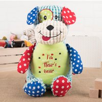 Personalised Cubbies Patchwork Dog Soft Toy - Personalised Gifts
