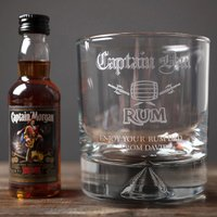 Personalised Tumbler and Rum Miniature - Captain Dad - Rum Gifts