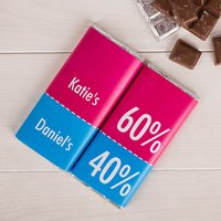Image of Personalised Set Of Two Chocolate Bars - 60/40