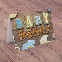 Personalised Card - Baby Boy Biscuits - Baby Gifts