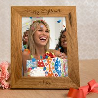Image of Personalised Wooden Photo Frame - Happy Eighteenth
