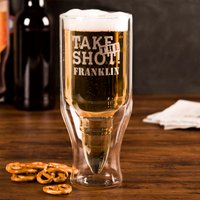 Personalised 50 Calibre Bullet Beer Glass - Take The Shot - Beer Glass Gifts