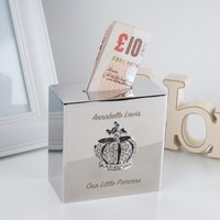 Engraved Square Money Box - Crystal Crown - Money Box Gifts