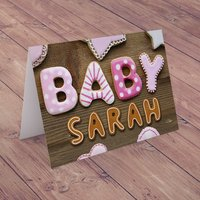 Personalised Card - Baby Girl Biscuits - Baby Gifts