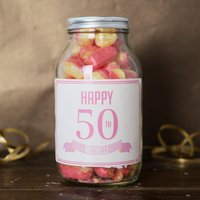 Personalised Jar Of Rhubarb & Custard Sweets - Happy 50th - 50th Gifts