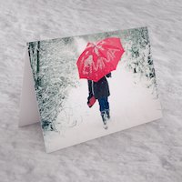 Personalised Christmas Card - Snow Umbrella - Umbrella Gifts