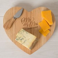 Personalised Heart Shaped Wooden Cheese Board Set - Mr & Mrs - Cheese Board Gifts