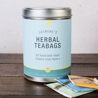 Personalised Herbal Tea Tin - Blue & Yellow - Yellow Gifts