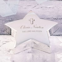 Engraved Silver Star Paperweight - The Lord Has Risen