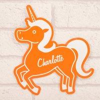 Personalised Orange Room Sign - Unicorn - Orange Gifts