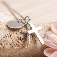 Personalised Premium Childrens Double Diamanté Cross Necklace
