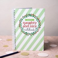Personalised Notebook - Naughty & Nice Striped - Nice Gifts