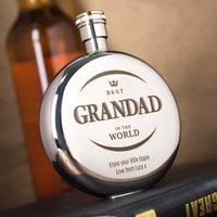 Engraved Round Hip Flask - Best Grandad - Grandad Gifts