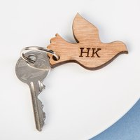 Personalised Wooden Key Ring - Dove - Key Ring Gifts