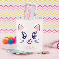 Personalised Ceramic Money Box - Cat - Money Box Gifts