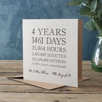 Image of Personalised Time Card - Linen 4th Anniversary
