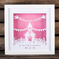 Personalised Papercut Mood Light - Christening Church - Decorations Gifts