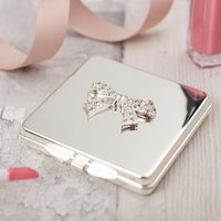 Engraved Compact Mirror With Crystal Bow - Crystal Gifts