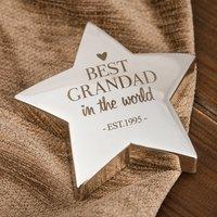 Engraved Silver Star Paperweight - Best Grandad - Grandad Gifts