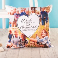 Multi Photo Cushion - Dad Knows A Lot But Grandad Knows Everything - Grandad Gifts