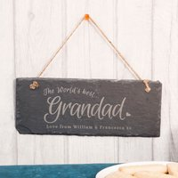 Personalised Hanging Slate Sign - World's Best Grandad - Grandad Gifts